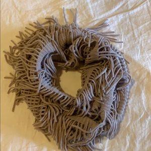 Purple fringe infinity scarf